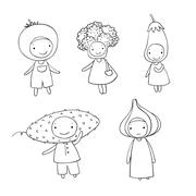 Cute cartoon vegetables Stock Illustration