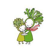 Cute cartoon succulents Stock Illustration