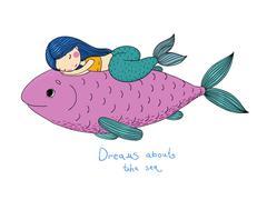 Beautiful little mermaid and big fish Stock Illustration
