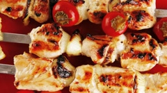 Chicken shish kebab with vegetables Stock Footage