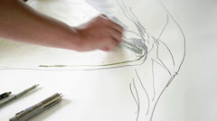 Woman drawing Stock Footage