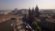 Aerial. The Basilica of Saint Nicholas. Old Centre district of Amsterdam. 4K Stock Footage