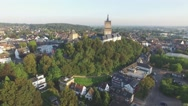 Aerial approaching Swanenburg castle in city,Kleve,Germany Stock Footage