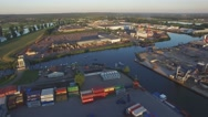 Aerial container terminal at Maas river ,Cuijk,Netherlands Stock Footage