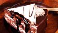 Sweet brownie chocolate cream cake Stock Footage