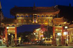 Victoria, Gates of Harmonious Interest in China town at night, Vancouver Island, Stock Photos