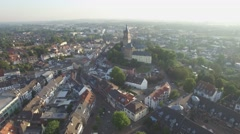 Aerial flyby Swanenburg castle in city,Kleve,Germany Stock Footage