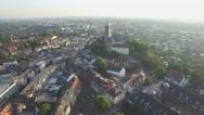 Aerial flyby Swanenburg castle in city,Kleve,Germany Stock Footage