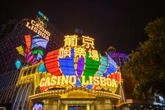 View of Casino Lisboa at night in Macau Stock Photos