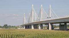 Modern bridge over Waal river,Ewijk,Netherlands Stock Footage