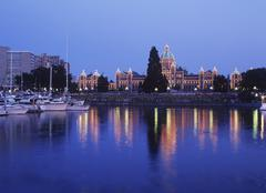 Victoria's inner harbour with the Parliament Buildings lit at night, Victoria, Stock Photos