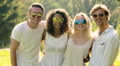 Multiethnic group of people in sunglasses smiling cheerfully, waving hands HD Footage