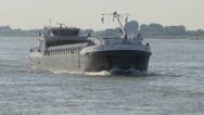 River transport ship on Waal river,Druten,Netherlands Stock Footage