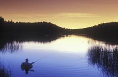 Fly-fishing at Lac Le Jeunne, Shuswap region, British Columbia, Canada. Kuvituskuvat