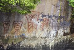 Historical Kingcome Inlet and pictograph, British Columbia, Canada. Stock Photos