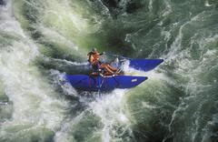 Aerial of Whitewater rafting on Kicking Horse River, British Columbia, Canada. Stock Photos