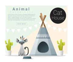 Cute animal collection Cat house Stock Illustration