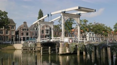 Hystorical drawbridge in old town,Weesp,Netherlands Stock Footage