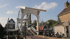 Opening of hystorical drawbridge,Loenen,Netherlands Stock Footage