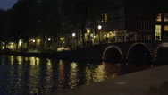 Amsterdam by night canal Stock Footage