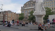 Dam square monument with tourists,Amsterdam,Netherlands Stock Footage