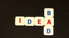 The word IDEA (BAD IDEA) made up of letters. Stop motion Stock Footage