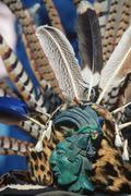 Mexico City, Zocalo, traditional aztec headdress at Metropolitan Cathedral Stock Photos