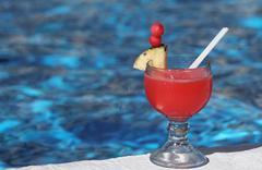 Mexico, Yucatan Peninsula, Carribean Resort at Cancun, tropical drink at Stock Photos