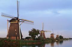 Netherlands, Holland, Kinderdyck - windmills line canals at dawn Kuvituskuvat