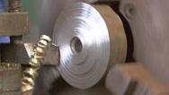 Turning Lathe Cuts Metal. Slose-up Shot Stock Footage