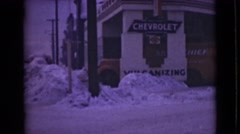 1946: older model red fuel truck parked under cranbrook british columbia texaco Stock Footage