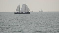 Traditional sailing ship on IJselmeer lake,IJselmeer,Netherlands Stock Footage