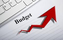 Document with title budget and diagram Stock Photos