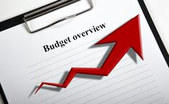 Document with title budget overview and diagram Stock Photos