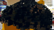 Large children's Lego black, close-up Stock Footage