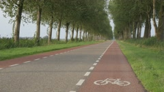 Bicycle lane on road with trees,Noord Holland,Netherlands Stock Footage