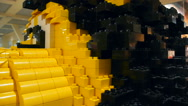 The lion's muzzle, built of Lego, close-up, side view Stock Footage