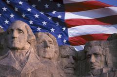 USA, South Dakota, Mount Rushmore with USA flag, digitally enhanced Stock Photos