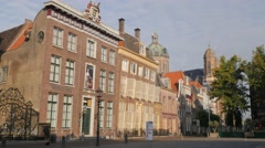 Historical houses on Roode Steen square,Hoorn,Netherlands Stock Footage
