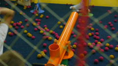 The two children's teams compete with each other in a shoot air guns Stock Footage