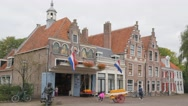 Cheese market with kids,Edam,Netherlands Stock Footage