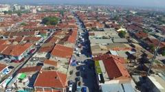 Slum city crowded drone suburb Stock Footage