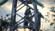 Repair work on a high-power lines Stock Footage