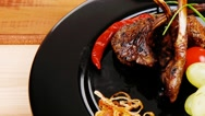 Ribs on plate Stock Footage
