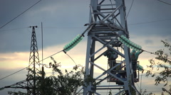 Two man Repair Pylons High Voltage Stock Footage
