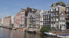 Prinsengracht canal  with traditional houses,Amsterdam,Netherlands Stock Footage