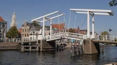 Historical drawbridge in old town,Haarlem,Netherlands Stock Footage