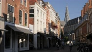Street in old town ,Haarlem,Netherlands Stock Footage