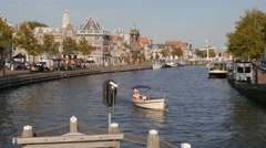 Tourists in boat on canal,Haarlem,Netherlands Stock Footage