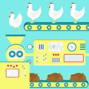 Chicken meat production Stock Illustration